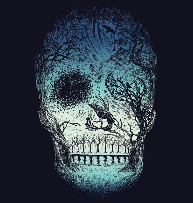 Hand dragen abstrakt skalle som göras från träd och lövverk i färg stock illustrationer