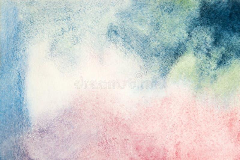 Hand dragen abstrakt vattenfärgbakgrund, färgrik mall En abstrakt bakgrund för vattenfärgwaldorfmålning Ljust konstnärligt stock illustrationer