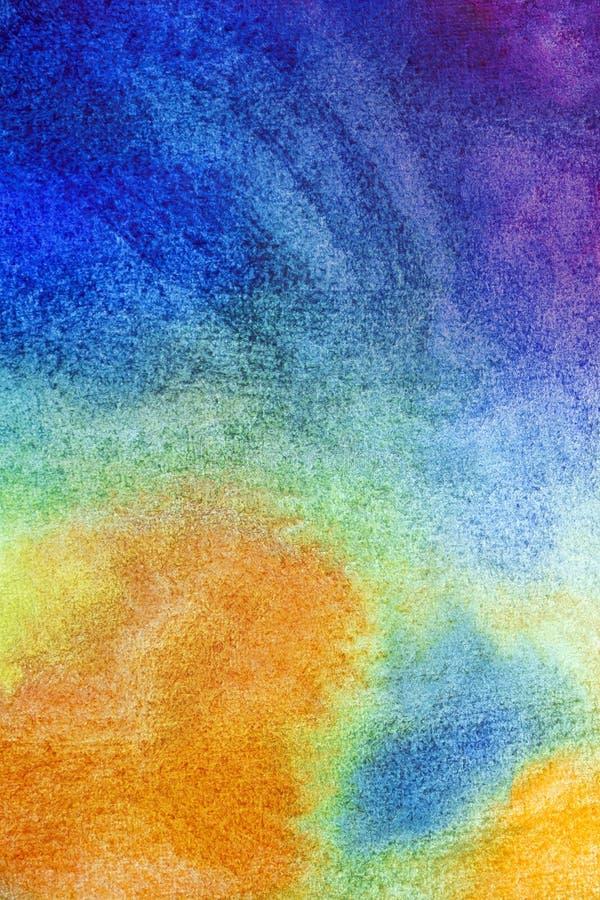 Hand dragen abstrakt vattenfärgbakgrund, våt målning för original- waldorf Kurs för nybörjare, konstnär, student, elev Första ste stock illustrationer