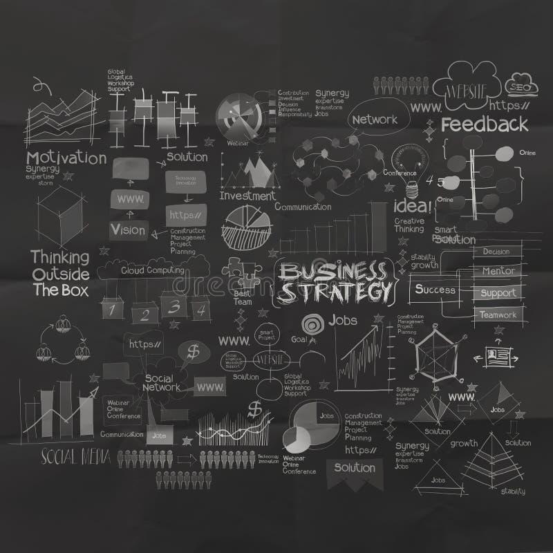 Hand dragen affärsstrategi på skrynklig pappers- bakgrund vektor illustrationer