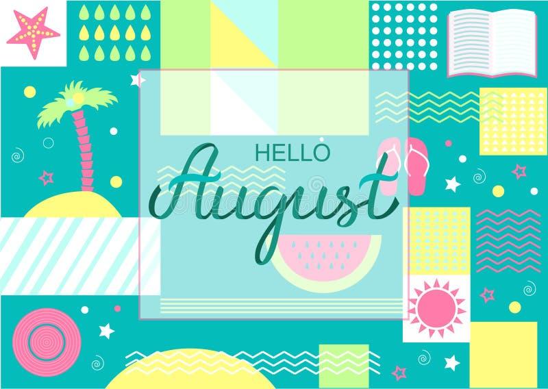 Hand dragen affisch för Hello Augusti typografibokstäver royaltyfri illustrationer