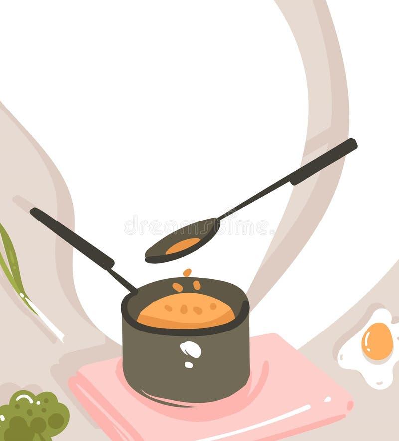 Hand dragen affisch för illustrationer för grupp för matlagning för tecknad film för vektorabstrakt begrepp modern med att förber stock illustrationer