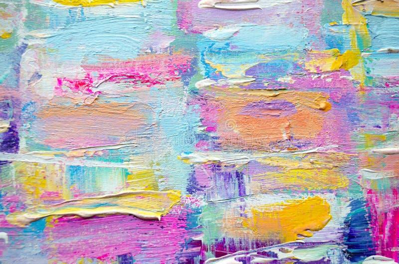 Hand dragen akrylmålning abstrakt konstbakgrund Akrylmålning på kanfas Färgtextur Fragment av konstverk penseldrag vektor illustrationer