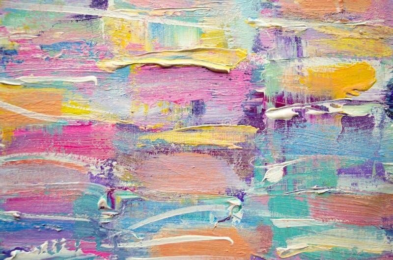 Hand dragen akrylmålning abstrakt konstbakgrund Akrylmålning på kanfas Färgtextur Fragment av konstverk penseldrag arkivbilder