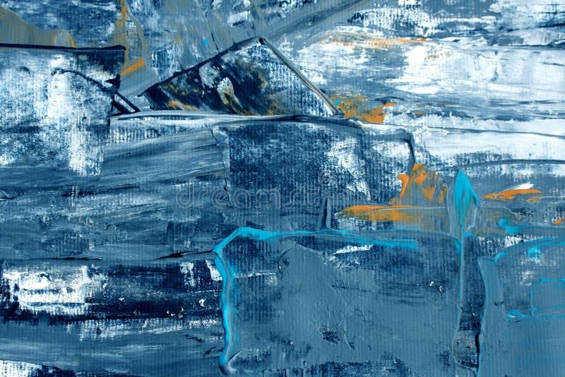 Hand dragen akrylmålning abstrakt konstbakgrund Akrylmålning på kanfas Färgtextur Fragment av konstverk penseldrag royaltyfri illustrationer
