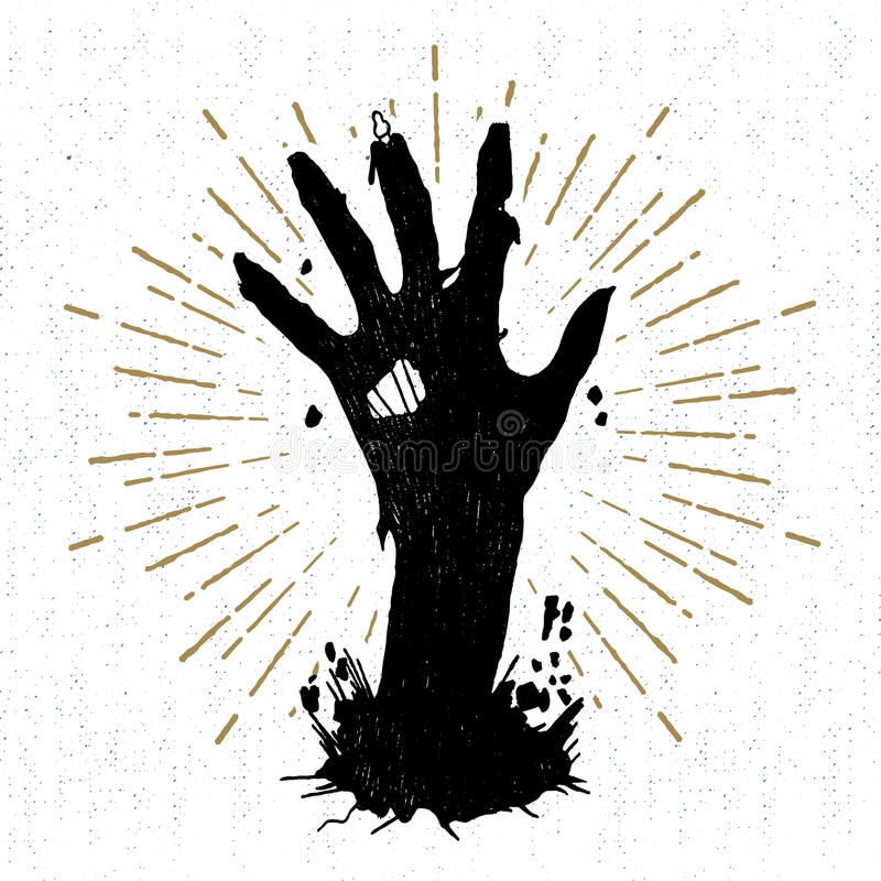 Hand dragen allhelgonaaftonetikett med den texturerade vektorillustrationen stock illustrationer