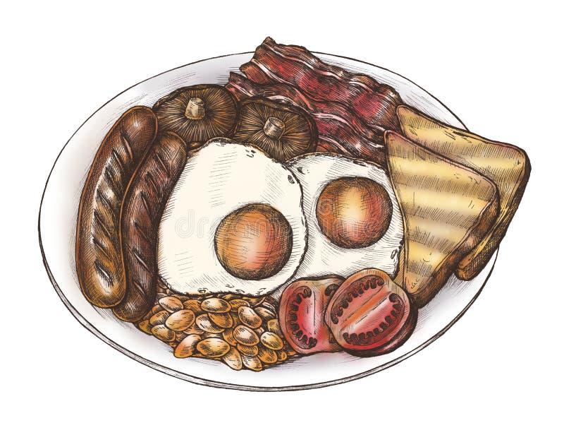 Hand-dragen amerikansk frukostuppsättning stock illustrationer