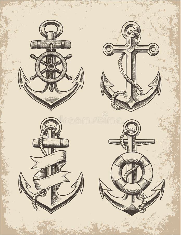 Hand dragen ankaruppsättning stock illustrationer