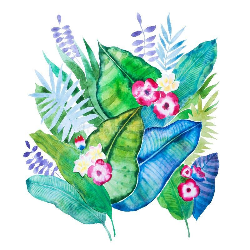 Hand-dragen aquarellesammansättning av tropiska sidor och blommor som isoleras på vit bakgrund royaltyfri illustrationer
