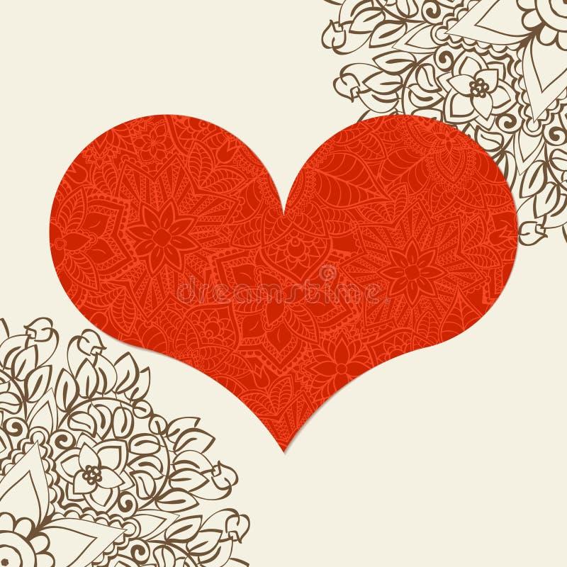 Hand dragen artistically etnisk dekorativ mönstrad hjärta med romantiska klotterbeståndsdelar av St-valentin dag stock illustrationer