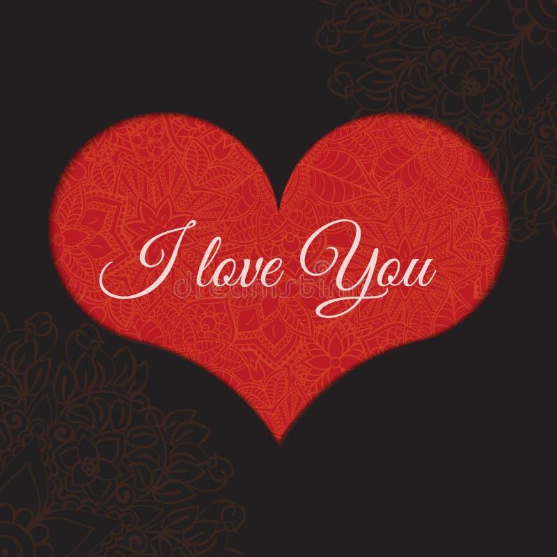 Hand dragen artistically etnisk dekorativ mönstrad hjärta med romantiska klotterbeståndsdelar av St-valentindagen, zentangle vektor illustrationer