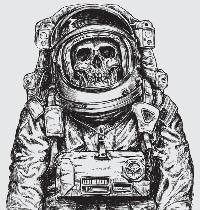 Hand dragen astronaut Skull royaltyfri illustrationer