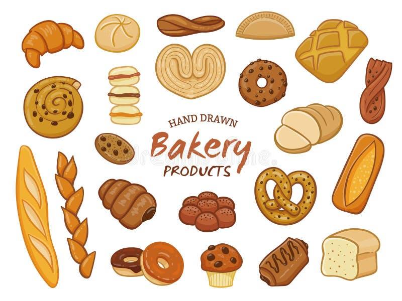 Hand dragen bageriproduktsamling stock illustrationer