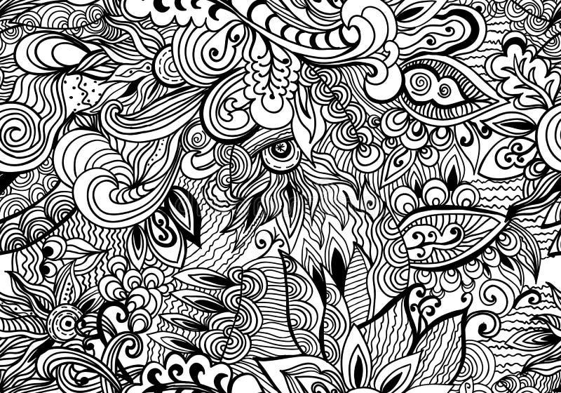 Hand-dragen bakgrund för klotter svartvitt abstrakt begrepp Sömlös modell för krabb zentanglestil royaltyfri illustrationer