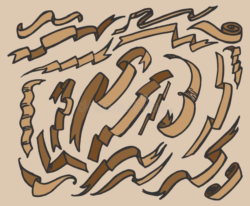 Hand dragen bandbaneruppsättning vektor illustrationer
