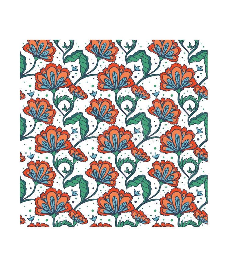 Hand dragen batikblommamodell royaltyfri illustrationer