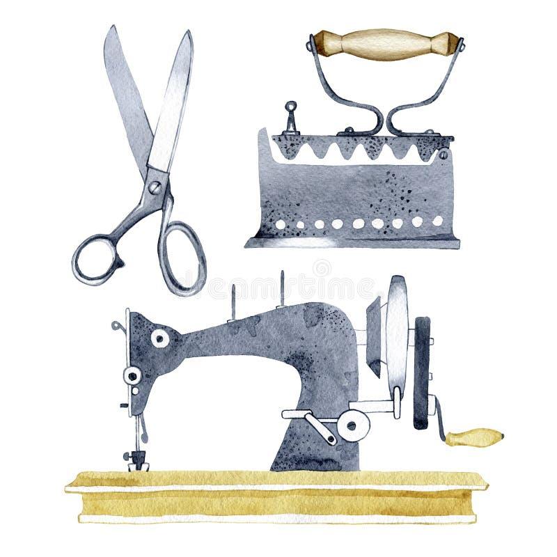 Hand dragen dragen beståndsdel för vattenfärgbeståndsdeldesign som skapar vykort, logoer, företags identitet och tryckprodukter royaltyfri illustrationer