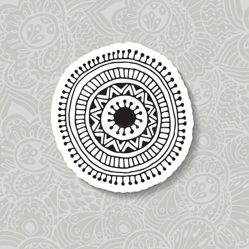 Hand dragen beståndsdel för vektorillustrationBoho cirkulär royaltyfri illustrationer