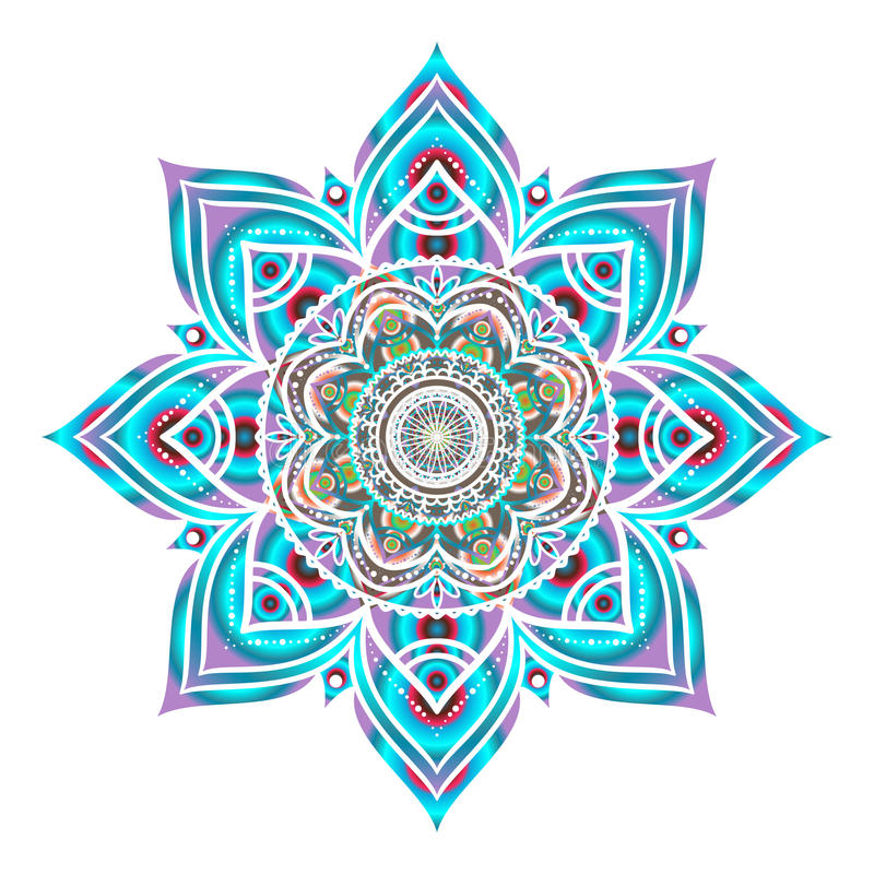 Hand dragen blå dekorativ rund prydnad som isoleras på vit vektor illustrationer