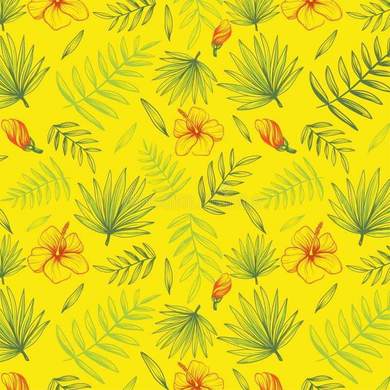 Hand dragen blom- bakgrund med palmblad royaltyfri illustrationer