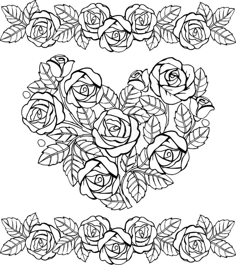 Hand dragen blom- hjärtamonokrom Hjärta av rosor för anti-spänningsfärgläggningsidan vektor illustrationer