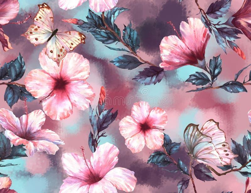 Hand-dragen blom- sömlös modell för vattenfärg med de mjuka vit- och rosa färghibiskusblommor och fjärilarna stock illustrationer