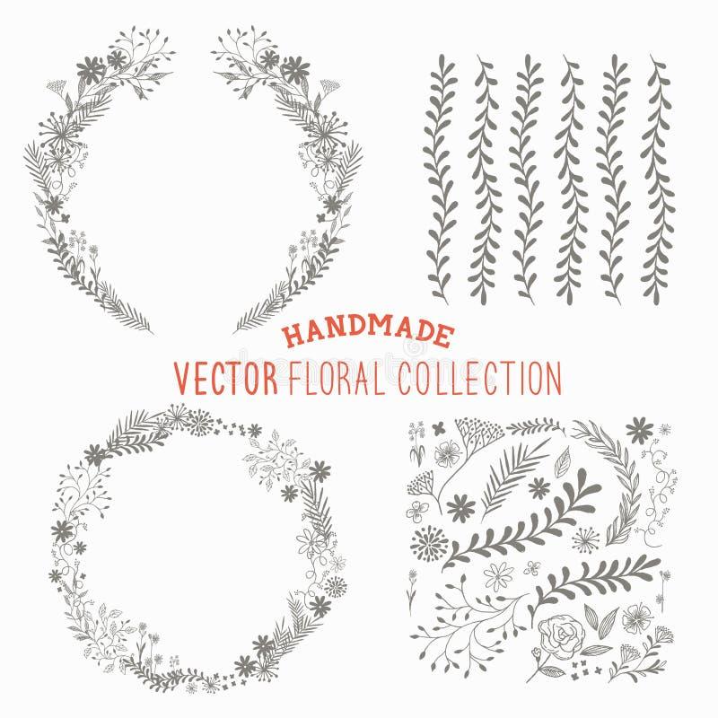 Hand dragen blom- uppsättning vektor illustrationer