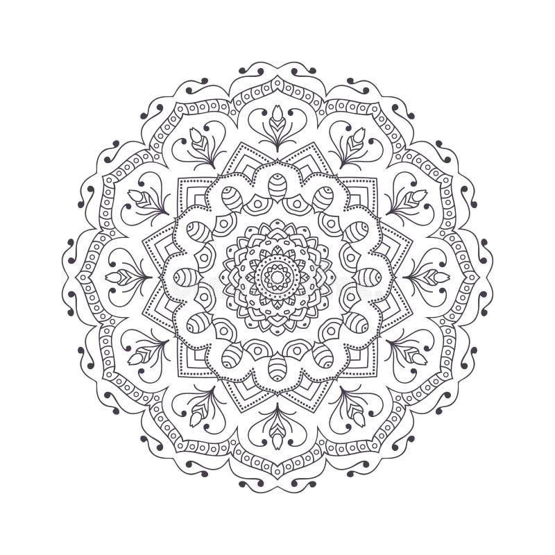 Hand dragen blommamandala för färgläggningbok Svartvit eth royaltyfri illustrationer