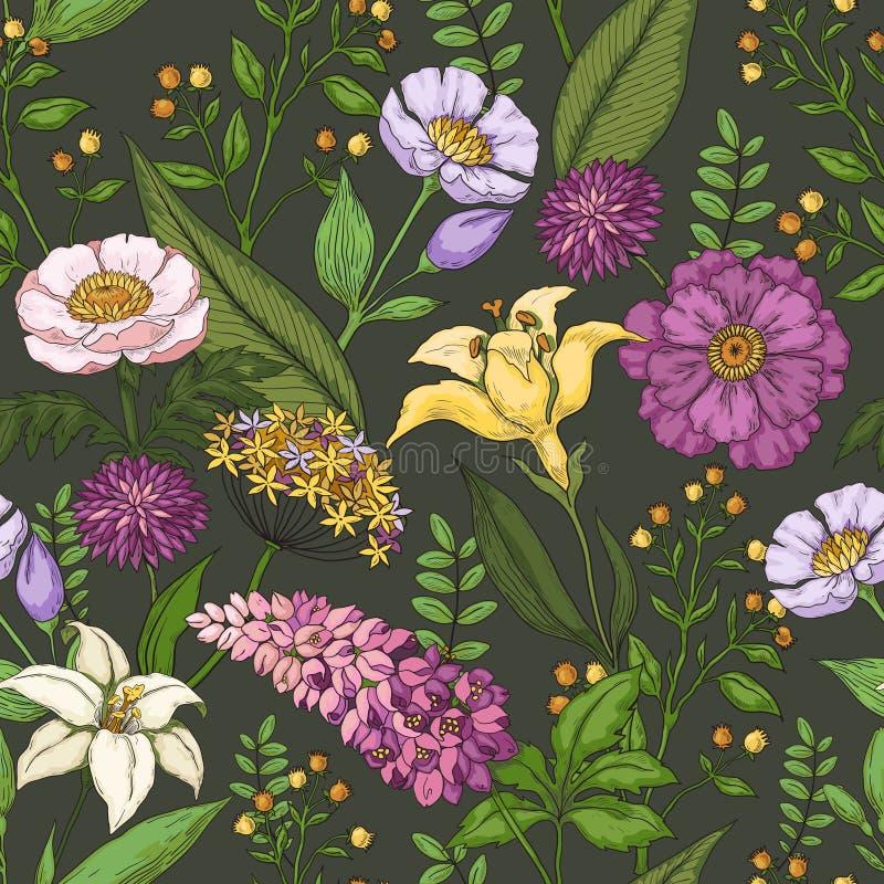 Hand dragen blommamodell Sömlöst tryck för abstrakt sommar, härlig naturmodeprydnad Silhouettev?xter p? gammal paper brown stock illustrationer