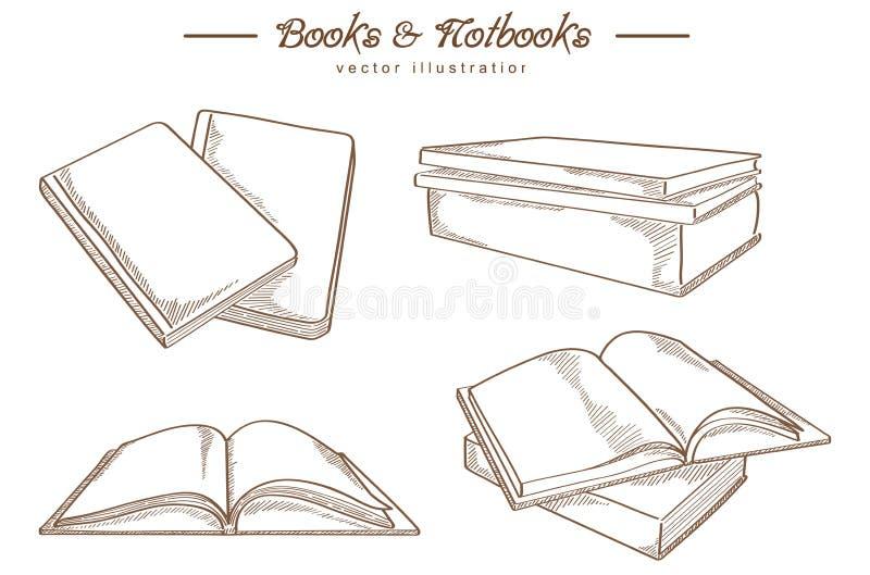 Hand dragen bok och anteckningsbok - tappningstil stock illustrationer