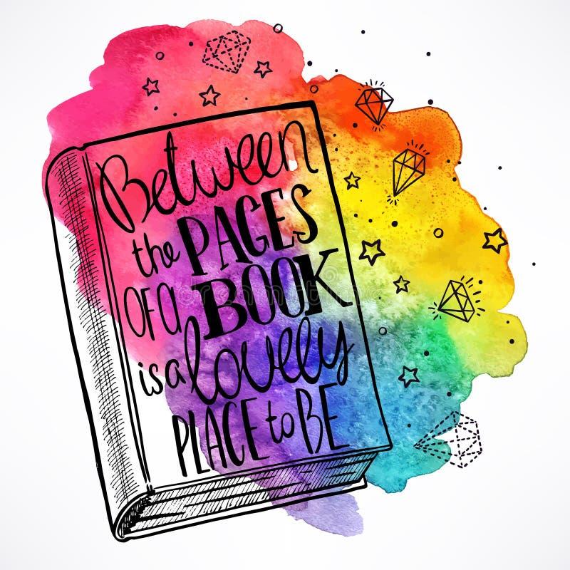 Hand-dragen bok på en vattenfärgbakgrund stock illustrationer