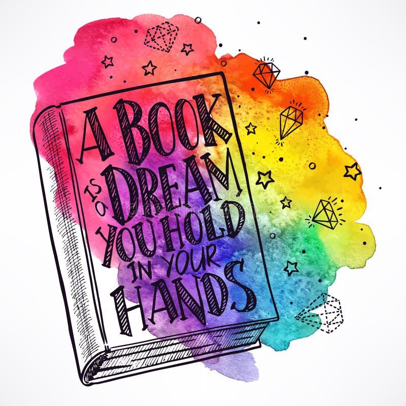 Hand-dragen bok på en vattenfärgbakgrund royaltyfri illustrationer
