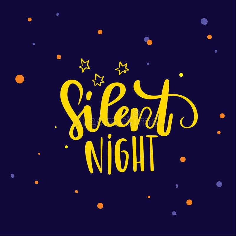 Hand dragen bokstäver Design för bokstäver för natt för modern borstekalligrafi tyst royaltyfri illustrationer