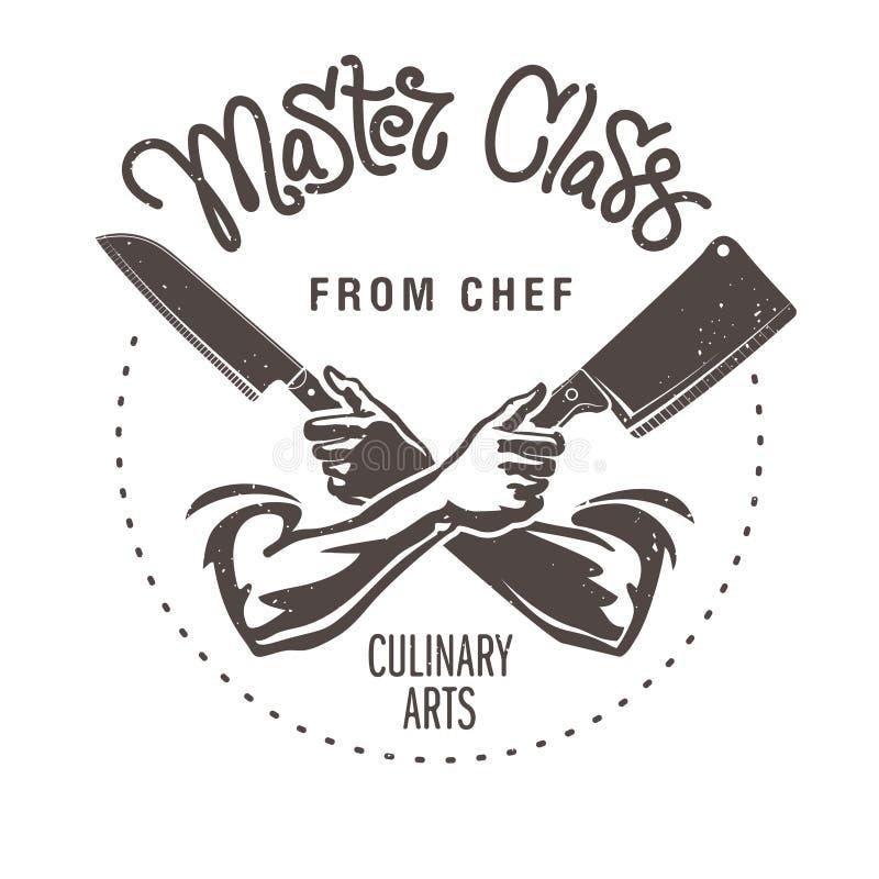 Hand dragen bokstäver Mästarklass från kock Manliga händer rymmer knifesnen stock illustrationer