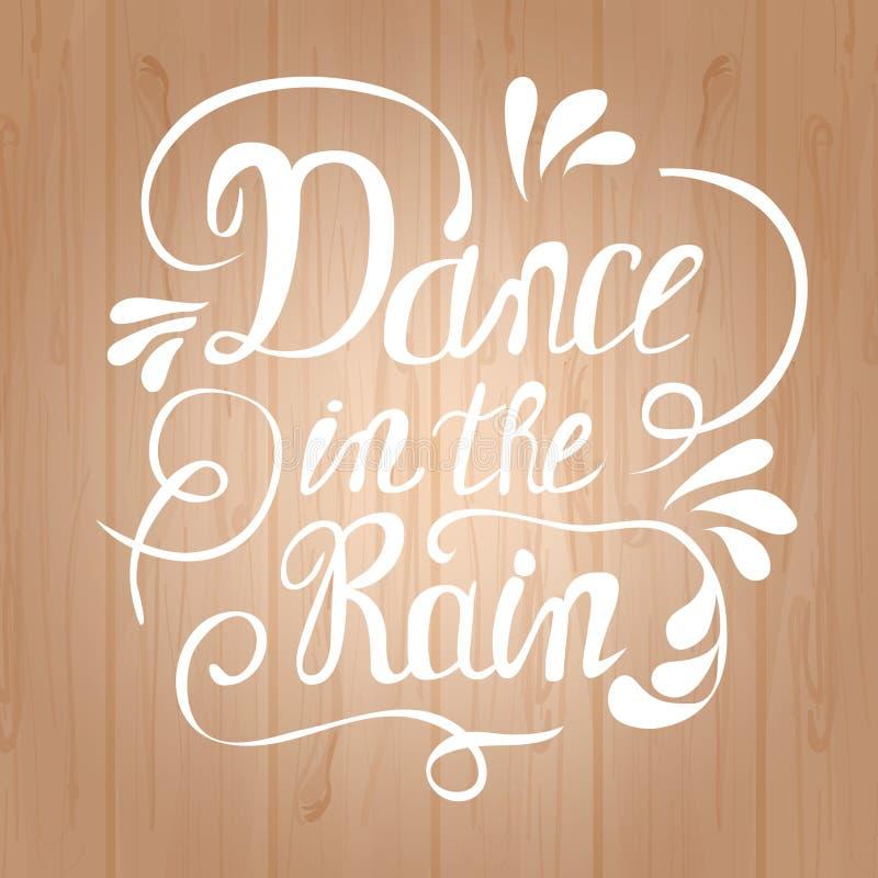 Hand-dragen bokstäverdans i regnet stock illustrationer