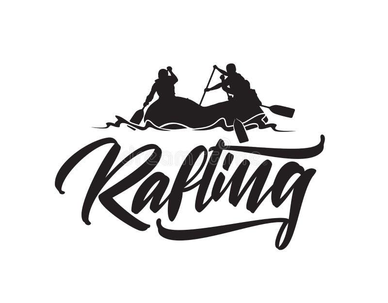 Hand dragen bokstävertyp av Rafting med konturn av laget i fartyg Typografiemblemdesign royaltyfri illustrationer