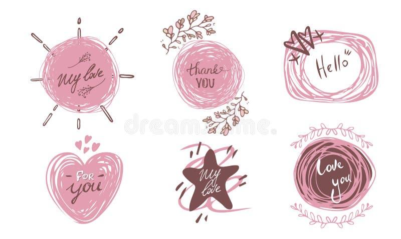 Hand dragen bokstäveruppsättning med romantikeruttryck om förälskelse Vektorinskriftsamling på vit bakgrund Kort med royaltyfri illustrationer