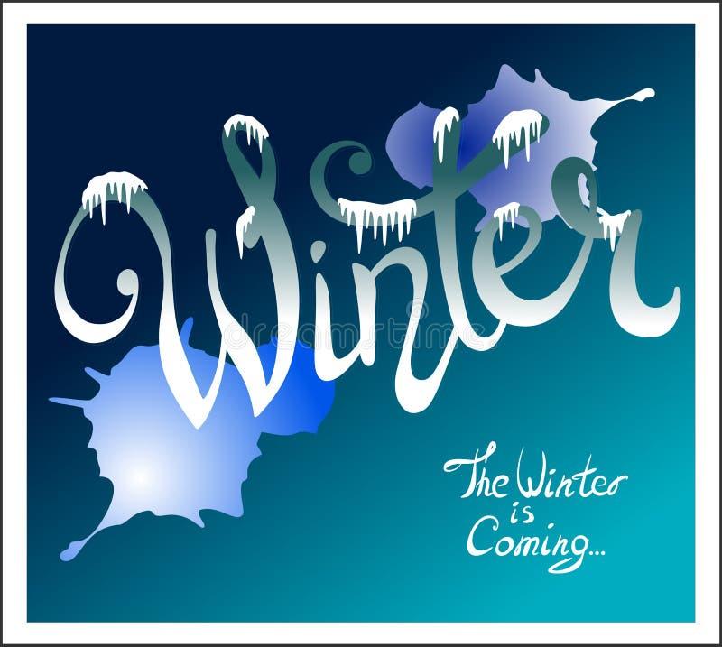 Hand - dragen bokstävervinter, med snö, istappar och fläckar av målarfärg 10 eps royaltyfri illustrationer