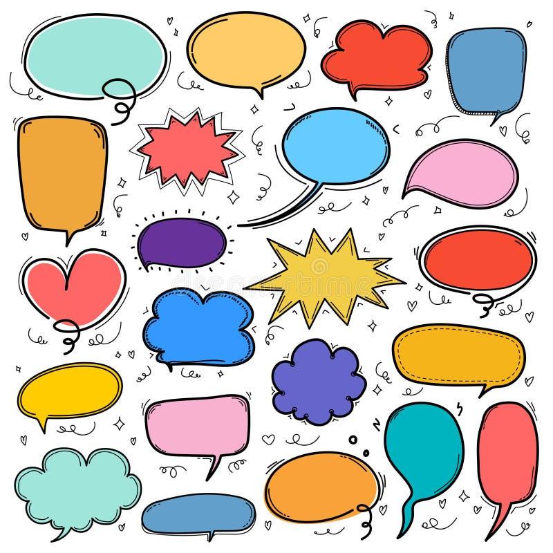 Hand dragen bubblauppsättning Formade den komiska ballongen för klotterstil, moln designbeståndsdelar royaltyfri illustrationer