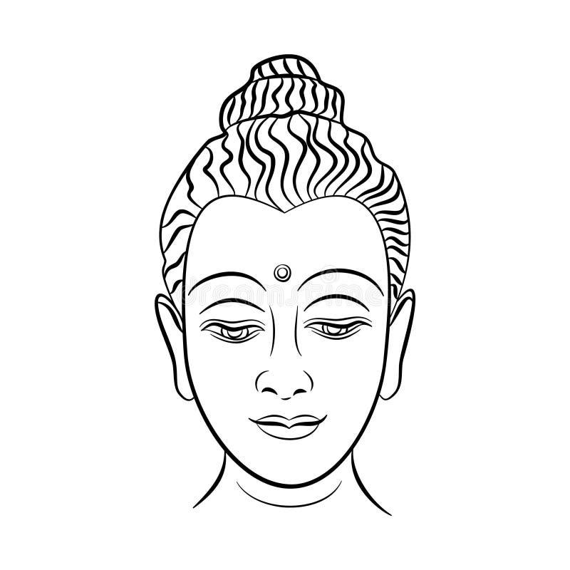 Hand dragen Buddhaframsidavektor, inspirerande affisch för meditationrum Svart tatueringBuddhahuvud som isoleras på vit bakgrund  vektor illustrationer