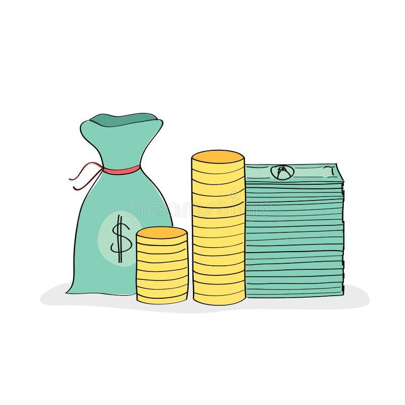 Hand dragen bunt av pengar royaltyfri illustrationer