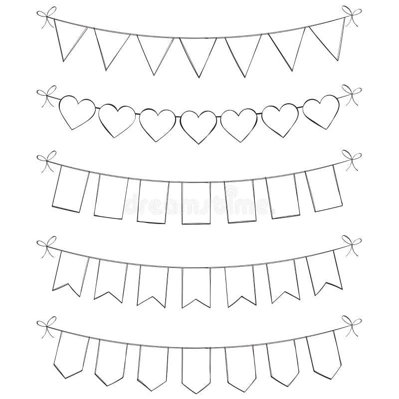 Hand dragen Bunting stock illustrationer