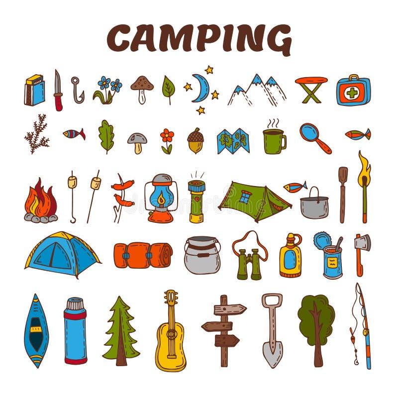 Hand dragen campa symbolsuppsättning i färg Samling av att campa och vektor illustrationer
