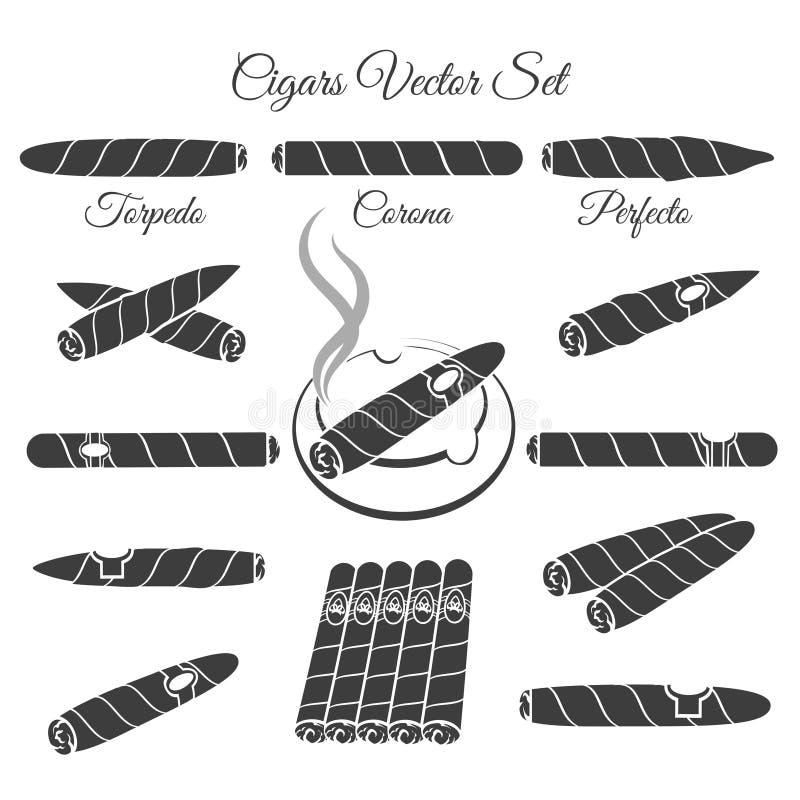 Hand dragen cigarrvektor vektor illustrationer