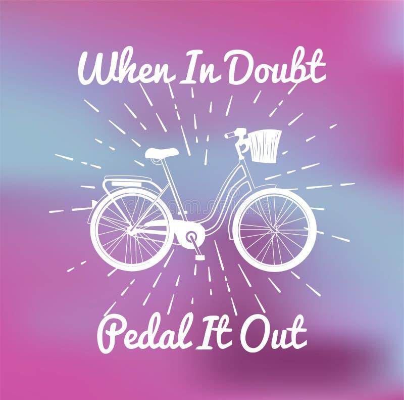 Hand dragen cykel för stad för dam` s med korgen royaltyfri illustrationer