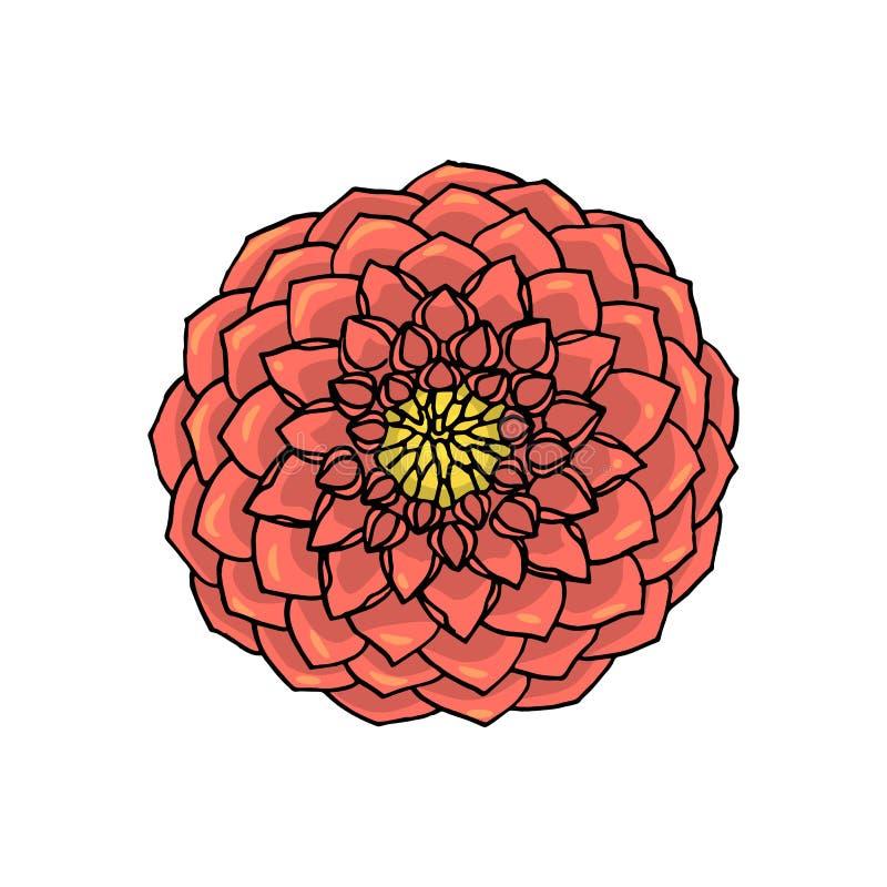 Hand dragen dahliablomma vektor f?r illustration f?r designelement blom- vektor illustrationer