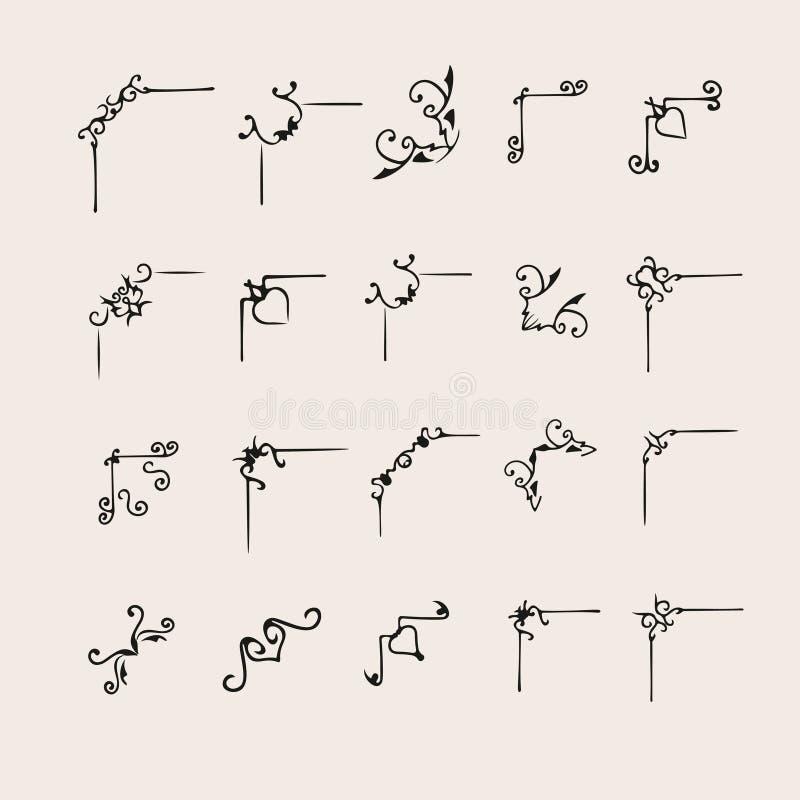 Hand dragen dekorativ hörnuppsättning stock illustrationer