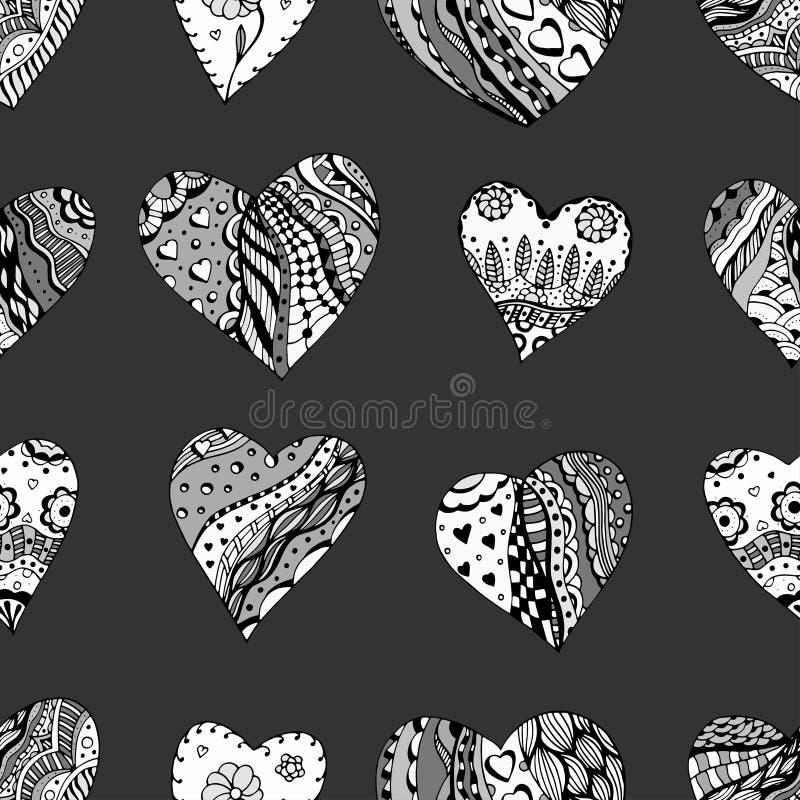 Hand dragen dekorativ hjärta vektor illustrationer