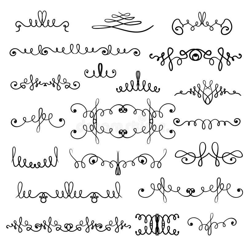 Hand dragen dekorativ krullning och virvlar vektor illustrationer