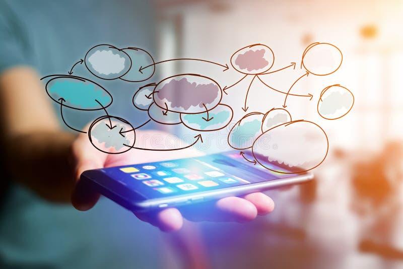 Hand dragen diagramorganisationssymbol som ut går en smartphoneinterf stock illustrationer